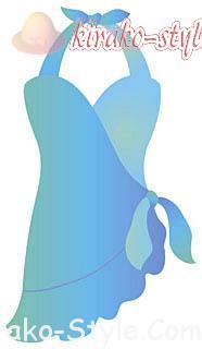 体型をカバーする水着は悩み別で見つけた!でも恥ずかしいときの対処法、フリルワンピの水着イラスト