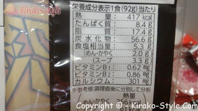 チキンラーメンのアクマのバタコの1食あたりの栄養成分表示