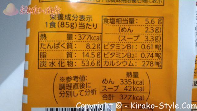 チキンラーメンの1食あたりの栄養成分表示