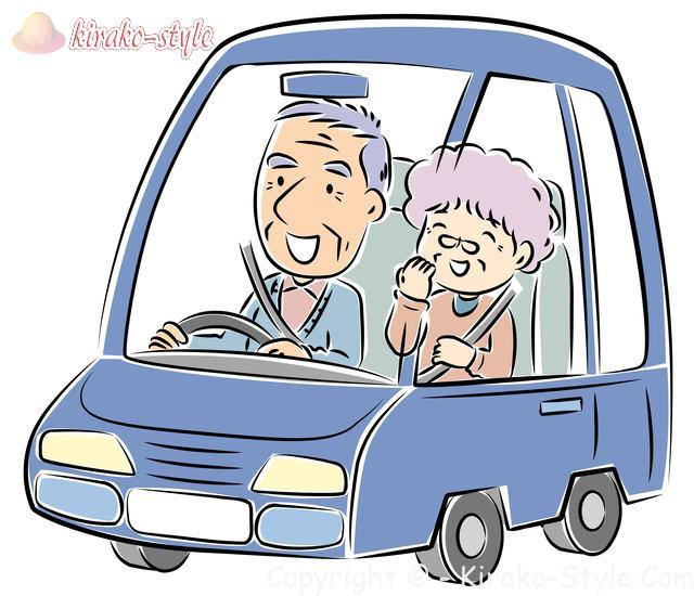 老夫婦でドライブのイラスト