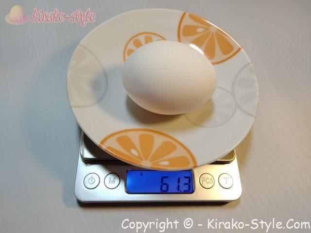 普通の卵の重さ 計量
